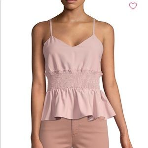 RENVY Smocked Peplum Tank in Pink, NWT SMALL
